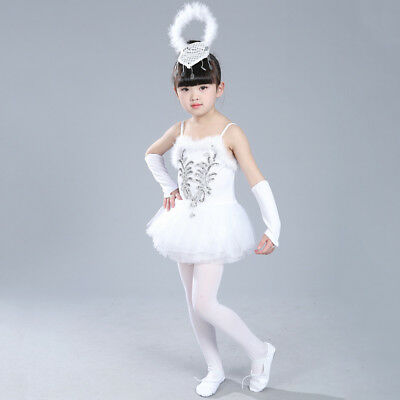 Kid Girls Tutu Ballet Leotard Dance Dress Swan Ballerina Fairy Dancewear Costume