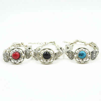 Adjust Bracelet  Woman Fashion Jewelry Tibetan Silver Pld Turquoise Bead Bangle 3