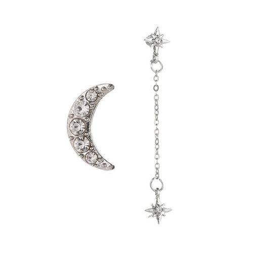 Elegant Rhinestone Crystal Ladies Crescent Moon Stars Studs Earrings Gift N7