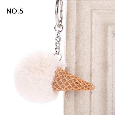 1PC Pendant Imitation Hairball Keychain Ice Cream Cute Fashion Bag Keyring 7