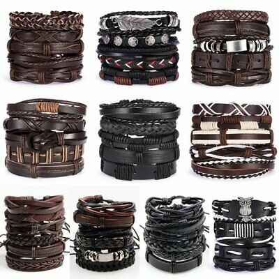 6pcs/set Multilayer Leather Bracelet Handmade Men Women Wristband Bangle Gifts 3