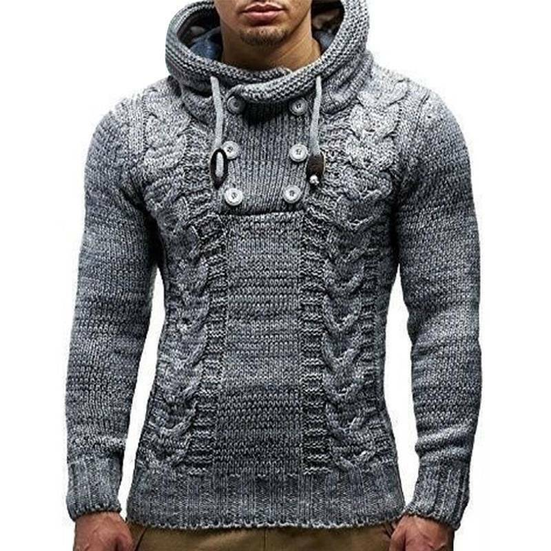 Mens Warm Knitted Hooded Long Sleeve Jumper Pullover Casual Sweater Winter Coat 4
