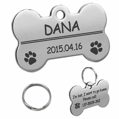 Bone Shape Custom Personalized Engraved Dog Tag Pet Cat Name ID Tag Phone Tag 4