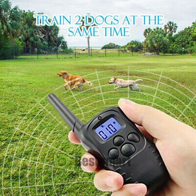 Waterproof 1000 Yard 2 Dog Shock Training Collar Pet Trainer with Remote 4 Mode 2