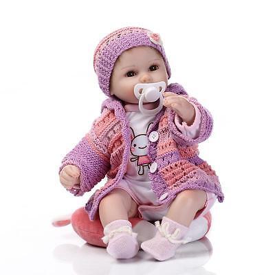 """18"""" Handmade Lifelike Reborn Doll Silicone Baby Girl Doll Vinyl Newborn Boy Doll 6"""