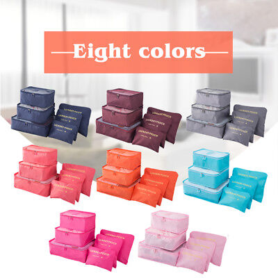 6Pcs Packing Cubes Travel Pouch Luggage Organiser Clothes Suitcase Storage Bags 8