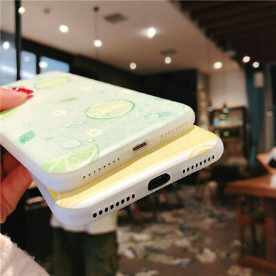 For iPhone X 8 6s 7 Plus Cute Fruits Pattern Slim Relief Matte Soft Case Cover 6