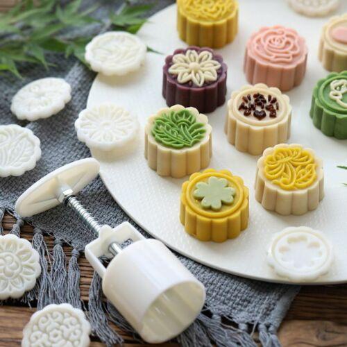 4pcs 125g 3D Flower Stamps Moon Cake Decor Mould Barrel Round Mooncake Mold 5