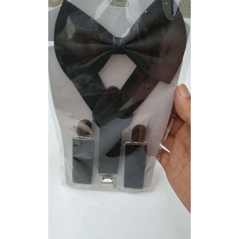 Baby Kids Adjustable Solid Suspender and Bow Tie Set Braces Elastic Y-back New