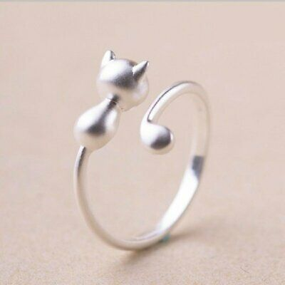 Fashion Lovely Cat Kitten Women Lady Jewelry Opening Adjustable Ring Party Gift 5
