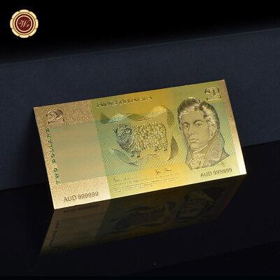 WR 7PCS Australia Polymer Banknotes Set 24K Gold Foil Dollar Note + Certificate 5