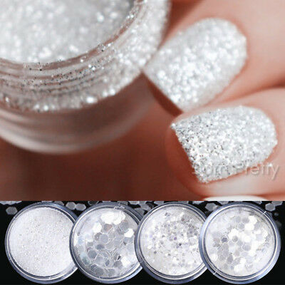 Nail Glitter Sequins Powder Rose Gold Nail Art White Silver Mixed  3D Decoration 2