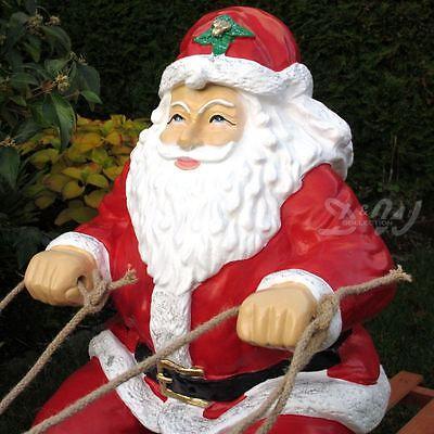 WEIHNACHTSMANN NIKOLAUS auf SCHLITTEN mit 2 Rentieren Deko Weihnachten Advent