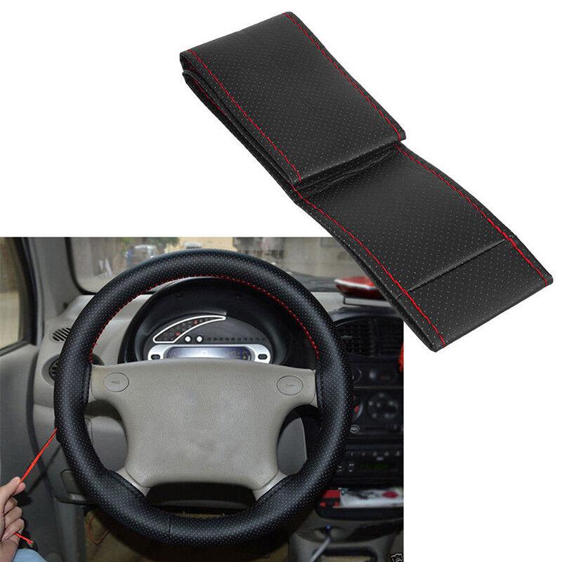 Coprivolante per auto in pelle nera e rossa fai da te 38 cm con ago e filo BHQ 2