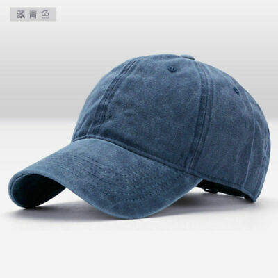 Men Plain Washed Cap Style Cotton Adjustable Baseball Cap Blank Solid Hat Casual 8