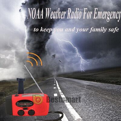 1000mAh Emergency Solar Hand Crank Radio NOAA Weather w/AM/FM LED Flashlight SOS 8