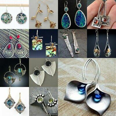 925 Silver Ruby Aquamarine Turquoise Sapphire Earrings Ear Hook Drop Dangle Gift 2
