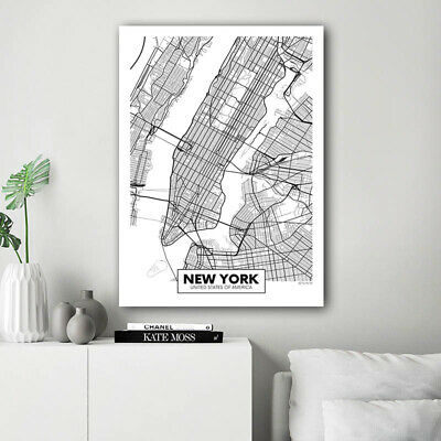 Rotterdam New York London Capital City Map Wall Art Poster Canvas Print Picture 4
