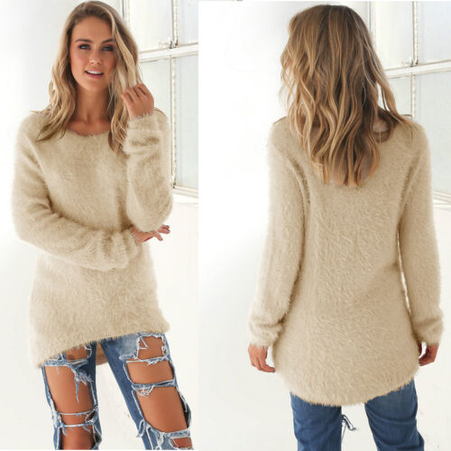 Womens Fluffy Sweatshirt Casual Sweater Long Sleeve Pullover Blouse Jumper Tops 9