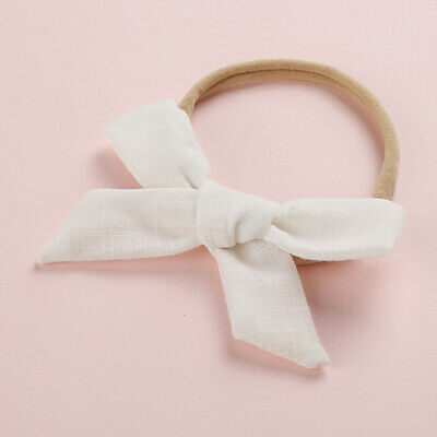 Kids Baby Toddler Cotton Linen Nylon Bow Headband Solid Hairband Hair Ring #N 7