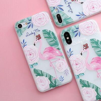 Shockproof Slim Soft TPU Matte Floral Pattern Cover Case For iPhone X 8 6 7 Plus 9