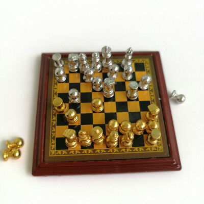 Dollhouse Miniature 1:12 Toy Metal Silver & Golden Chess and Board Set Play Game 6