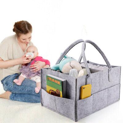 Baby Diaper Organizer Caddy Felt Changing Nappy Kids Storage Carrier Bag Grey UK 2