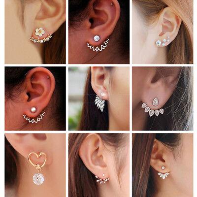 New Women Pearl Crystal Geometric Statement Drop Dangle Earrings Wedding Jewelry 8