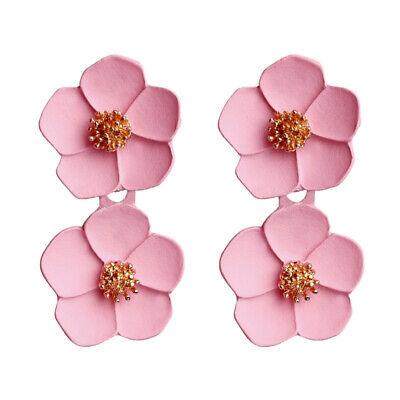 Fashion Crystal Women Flower Drop Dangle Earrings Ear Stud Jewelry Double Layer 6