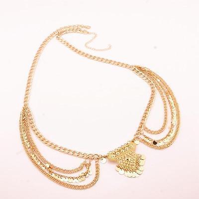 Charm Boho Silver Gold Multilayer Sequins Tassel Belt Waist Belly Body Chain HF 6