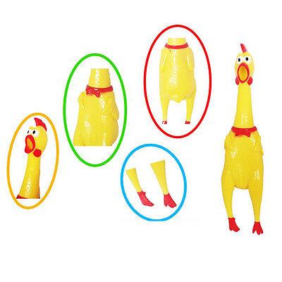 Screaming Rubber Yellow Chicken Pet Dog Toy Squeak Squeaker Chew Gift 3 Sizes 8