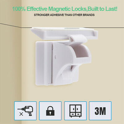 Magnetic Cabinet Locks For Child Baby Proof Safety Cupboard Door Drawer Kitchen 9