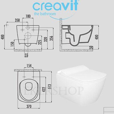 CREAVIT F22 Spülrandlos Hänge Dusch Wc Taharet Bidet Rim-Off mit Slim Deckel