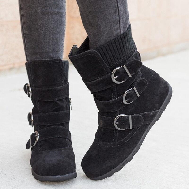 finest selection fccce 87341 DAMEN SCHLUPF STIEFELETTEN Ankle Boots Stiefel Flach Gefüttert Winter  Schuhe DEU
