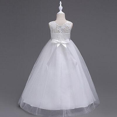 Girls Kids Lace Flower Bridesmaid Party Princess Prom Wedding Christening Dress