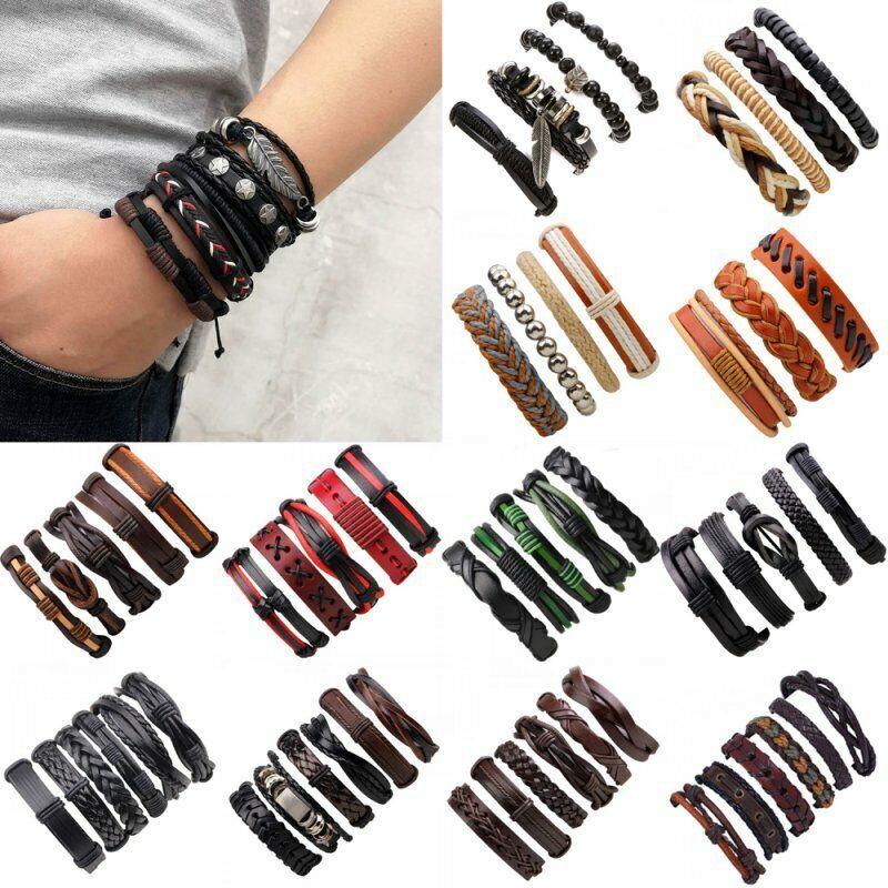 4Pcs Punk Multilayer Leather Bracelet Men's  Women Wristband Bangle Jewelry Set 2