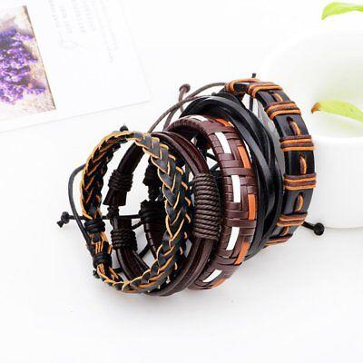 Fashion Mens Punk Leather Wrap Braided Wristband Cuff Punk Bracelet Bangle New 6