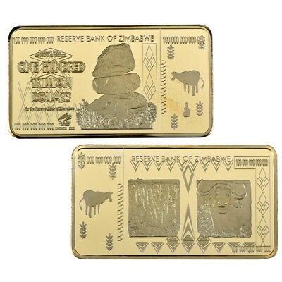 Zimbabwe 100 Trillion Dollars Gold Bullion Bar Ingot (Zm1GB)