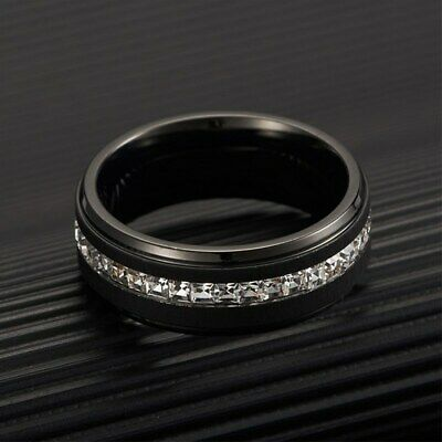8MM Blue/White Cz Bands Men's Titanium Steel Silver/Black Brushed Ring Size 7-11 8