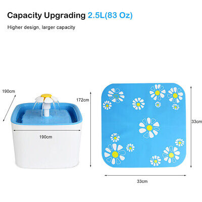 Automatic Cat Dog Water Drinking Flower Fountain Pet Bowl Drink Dish Filter New 7