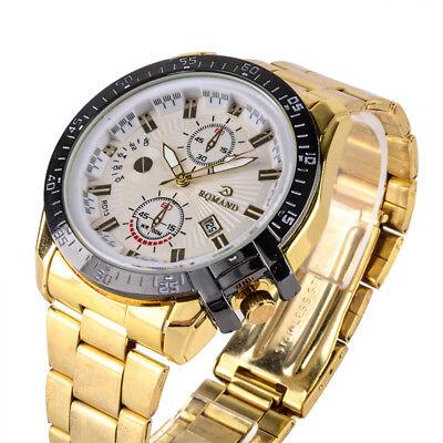 Luxury Mens Black Dial Gold Stainless Steel Date Quartz Analog Sport Wrist Watch 9