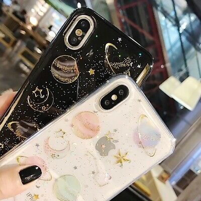 Phone Case For iPhone 6 6S 7 8 Plus Shockproof Cute Planet Moon Star Case Cover 5
