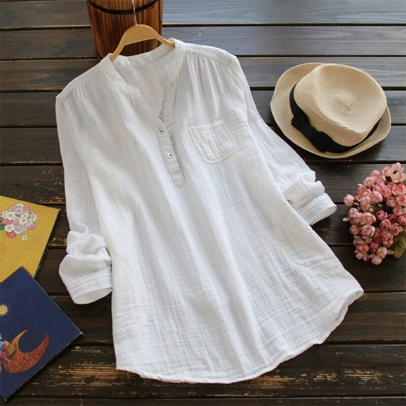 Womens V Neck Baggy Loose Cotton Tops T Shirt Plus Size Long Sleeve Tunic Blouse 5
