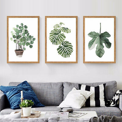 Tropical Plants Leaves Canvas Vintage Poster Wall Art Prints Modern Home Decor 6