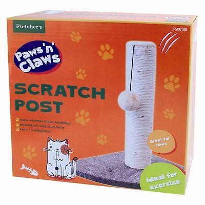 Cat Kitten Corner Sisal Scratching Pole Post Pet Toy Scratcher Play Activity UK 2