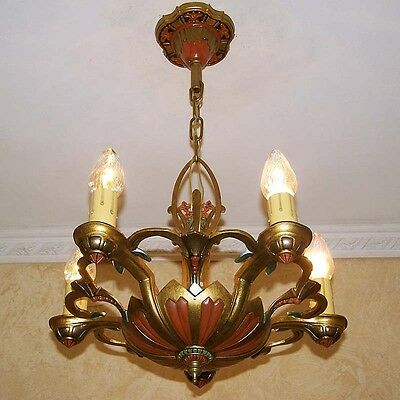 975 Vintage 20s 30s Ceiling Light  aRT Nouveau Polychrome Chandelier antique 4