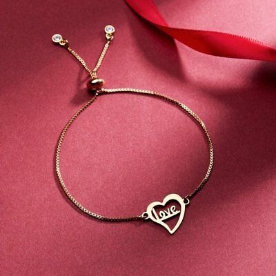 Women Gold Stainless Steel Love Heart Chain Cuff Bracelet Bangle Jewelry Gifts 8