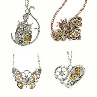 Victorian Steampunk Necklace Watch Parts Gear Heart Owl  Charm Vintage Jewelry