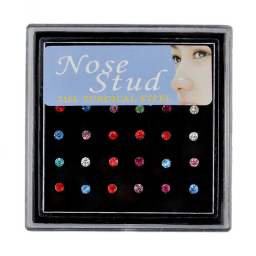 Stainless Steel 24/60PCS Crystal Nose Ring Bone Stud Body Piercing Jewelry New 11