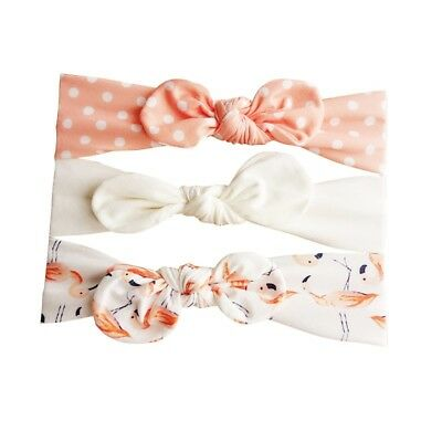 3pcs/Set Baby Girl Headband Ribbon Elastic Headdress Kids Hair Band Newborn Bow 6